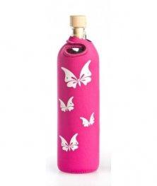 Бутилка FLASKA NEO LADY 0.500L: Розов - Бели пеперуди с камъни Сваровски