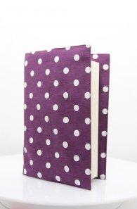 Текстилна подвързия за книга - Лилави точки