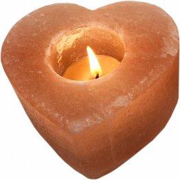 Свещник от хималайска сол Сърце