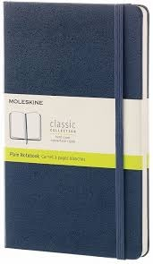 Moleskine Classic Notebook, Large, Plain, Sapphire Blue, Hard Cover [3687]